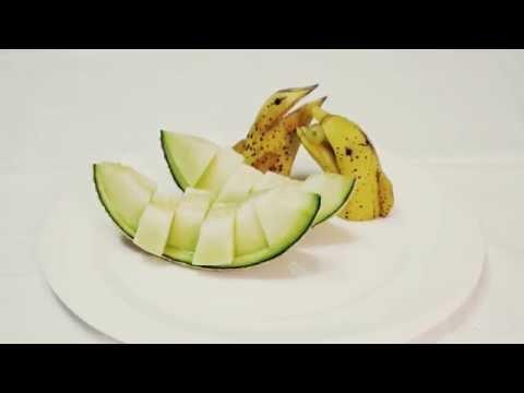 Banana carving :  과일예쁘게 깎기, 바나나 모양�