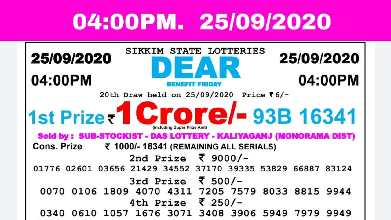 Lottery Sambad Result Live 04.00pm 25.09.20 Sikkim State Lottery Live gdn
