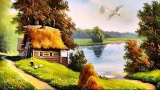 Звуки русской деревни. Пение птиц, лай собак, голоса лошадей и петухов.