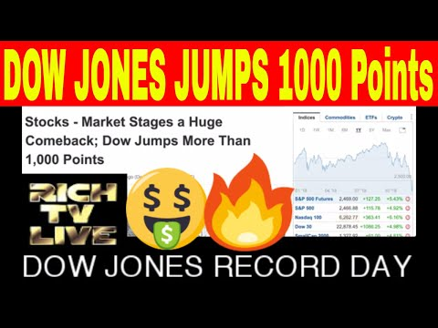 Dow Jones Record Day Jumps over 1000 points