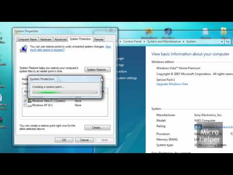 How To Create A Restore Point On Windows Vista