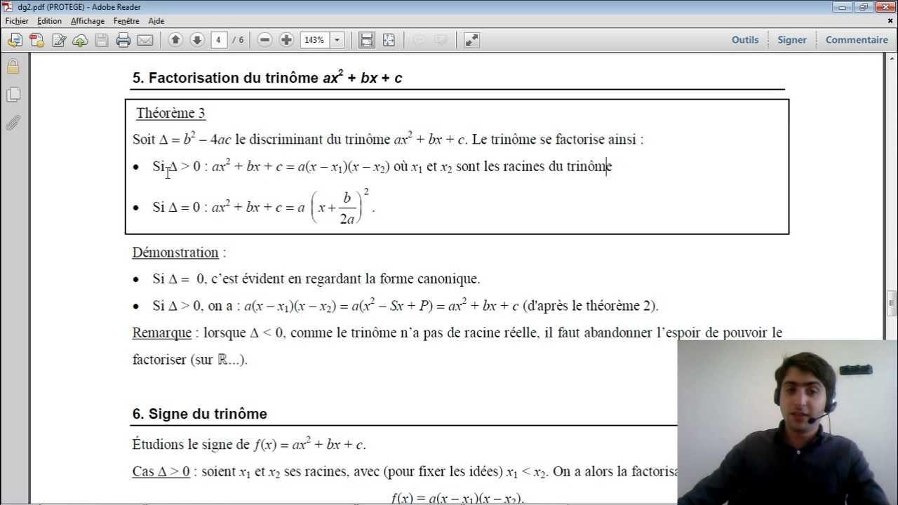 Equations du 2nd Degré (5/7) - Factorisation du Trinôme ...