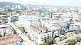 Aerial of SM Cebu and Robinson Mall. Cebu, Philippines.