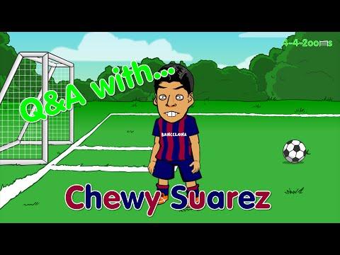 😬LUIS SUAREZ BARCA  DEBUT Q&A interview😬  (El Clasico, Barcelona bite, cartoon crying, highlights)
