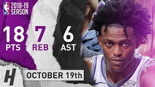 De'Aaron Fox Full Highlights Kings vs Pelicans 2018.10.19 - 18 Pts, 7 Reb, 6 Ast