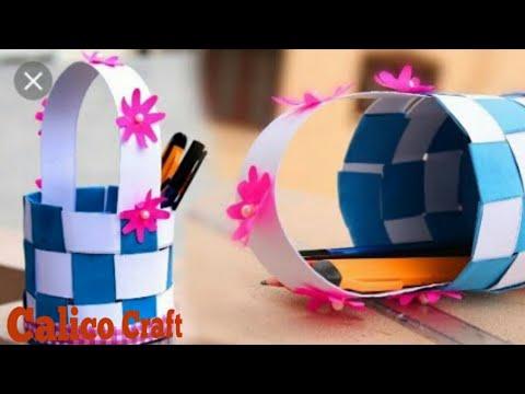 Paper basket/paper basket with newspaper/paper basket weaving/#calico craft/ paper craft/ DIY craft