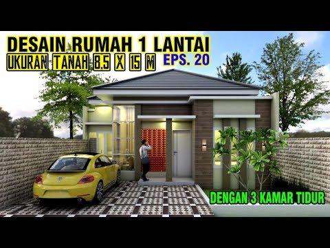 desain rumah 8x15 meter dengan 3 kamar tidur | eps. 020