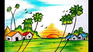 How to draw a beautiful village scenery of Bangladesh (very easy)  2017