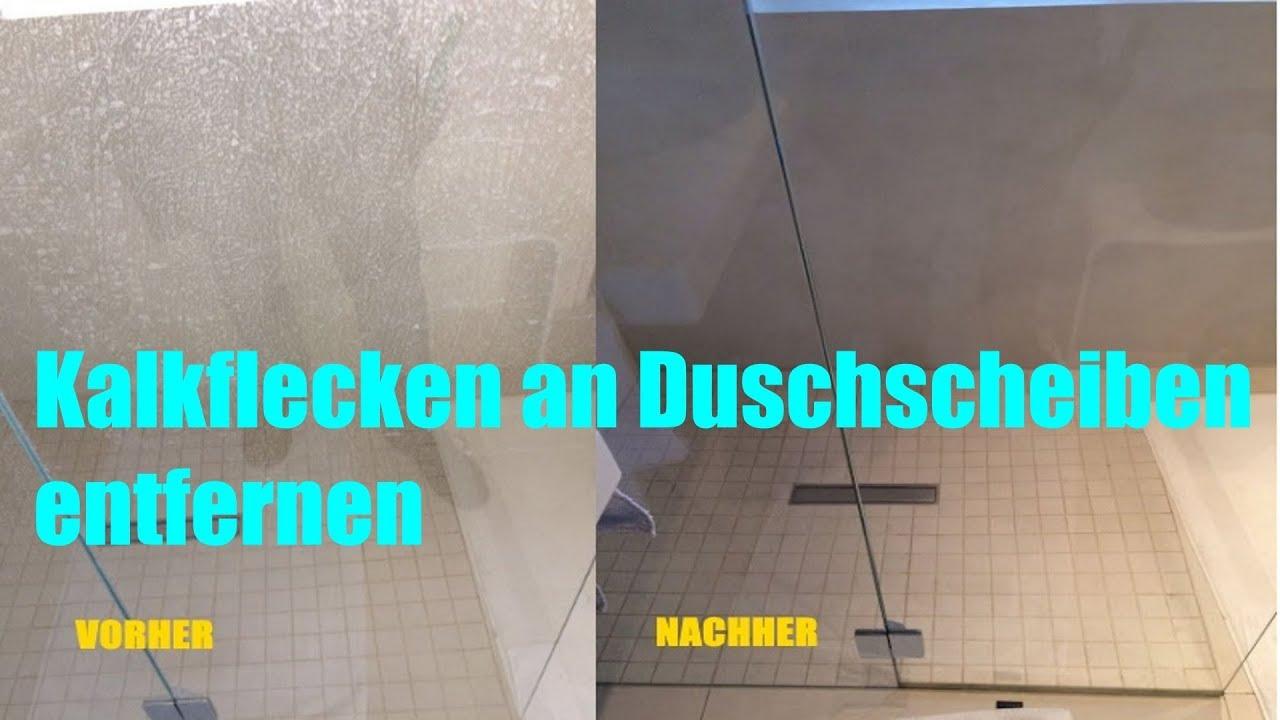 Kalkflecken auf Duschscheiben entfernen / Dusche reinigen Duschtür /  hardstain remover Unger Rubout