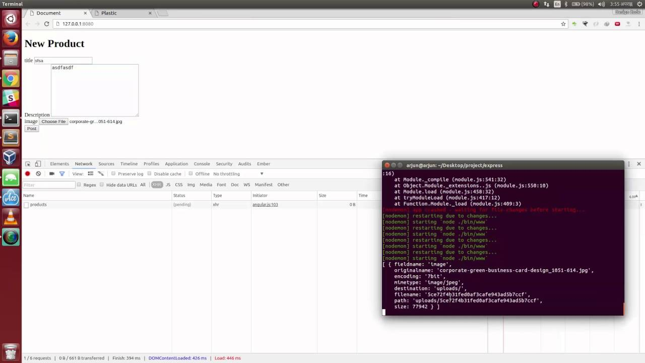 ExpressJS, AngularJS - posting data and image with FormData and saving with  Multer