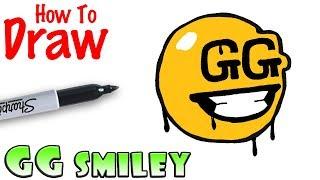 How to Draw GG Smiley Spray | Fortnite