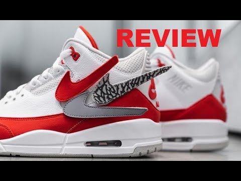 brand new d81f1 4e5d5 Air Jordan 3 TInker Max 1 White Red Removable Swoosh Retro Shoe Detailed  Review  sneakerhead