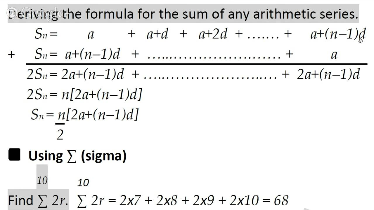 Find the sum of the arithmetic series formula