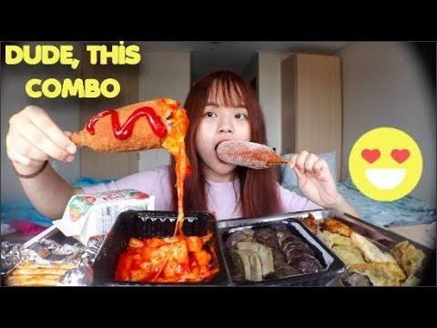 Eating Cheesy Spicy Rice Cakes WITH HOTDOG! (getting sued...) 핫도그 + 떡볶이 먹방  MUKBANG