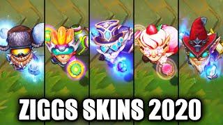 All Ziggs Skins Spotlight 2020 (League of Legends)