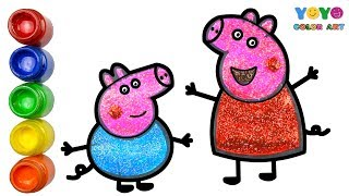 Glitter Coloring Peppa Pig And George Drawing For kids | YoYo Color Art