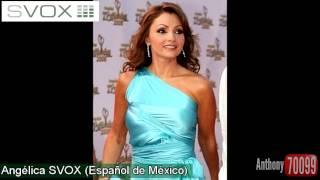 Presentando las 11 voces en español: 1 de Loquendo, 2 de L&H, 4 de SVOX y 4 de ScanSoft