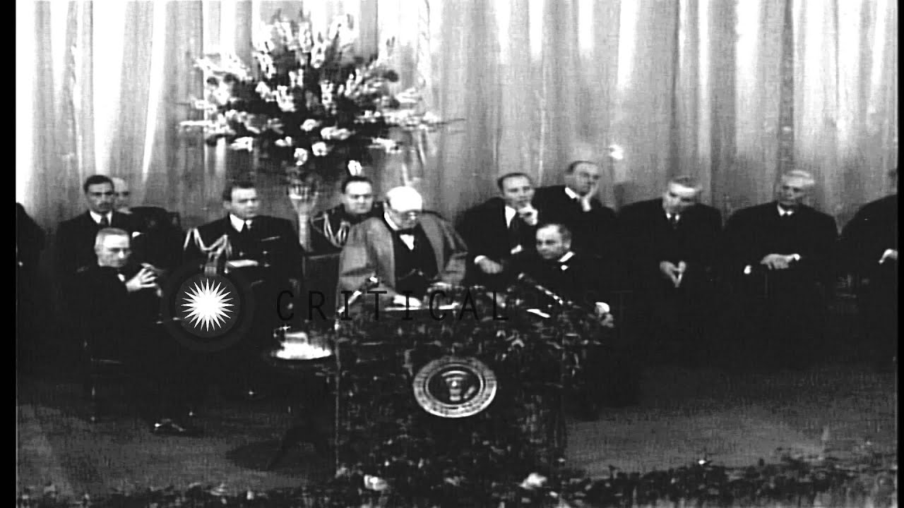 Iron curtain speech - Winston Churchill And Us President Truman Enroute And During A Speech By Chur Hd Stock Footage