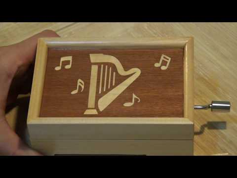 20 Note Punched Paper Strip Music Box with Marquetry Inlay - Play My Heart Will Go On
