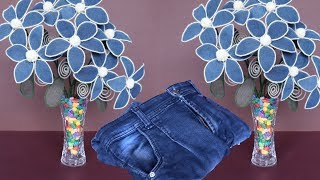 DIY Jeans Flower || Flower Decoration Idea || Best Out of Waste Idea