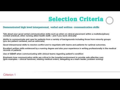 Careers - Guide to addressing the Nursing and Midwifery Selection Criteria