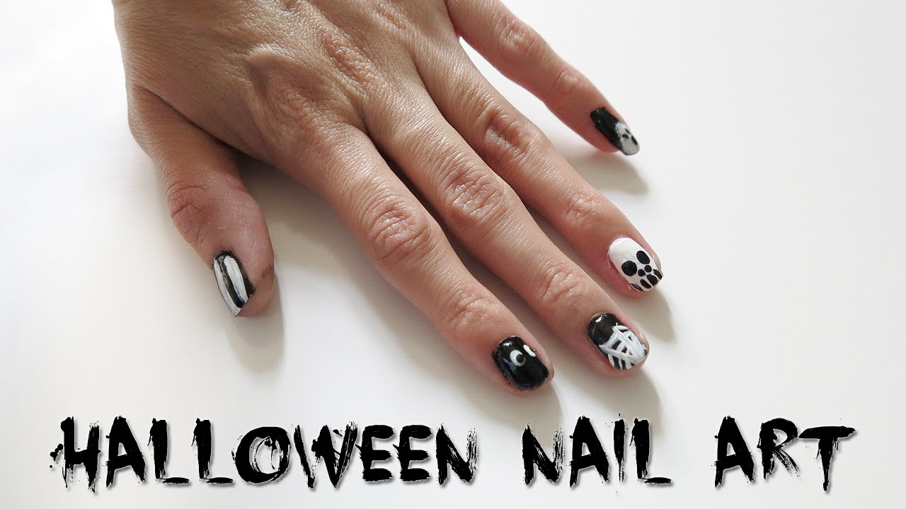 5 Halloween Nail Art Designs! Easy Black & White Nail Tutorial - 5 Halloween Nail Art Designs! Easy Black & White Nail Tutorial - YouTube