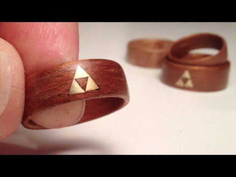 How to make Wood Rings - bent veneer w brass Zelda Triforce inlay