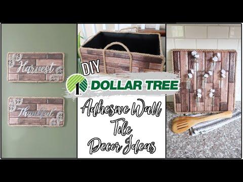 DOLLAR TREE DIY   ADHESIVE WALL TILE   DECOR IDEAS 2020!