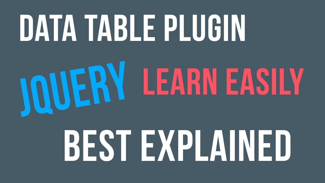 Jquery Datatable Plugin Tutorial for Beginners - YouTube