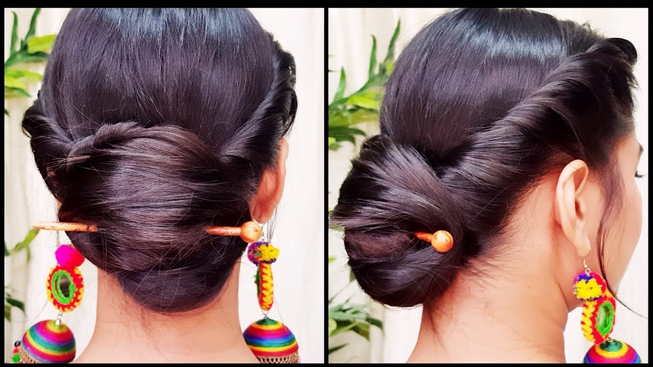 Quick Indian Bun Hairstyle For Navratri Party Hairstyles