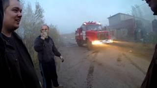 Пожар в гараже и обработка железного полена. Garage is on fire and iron log [EN sub]