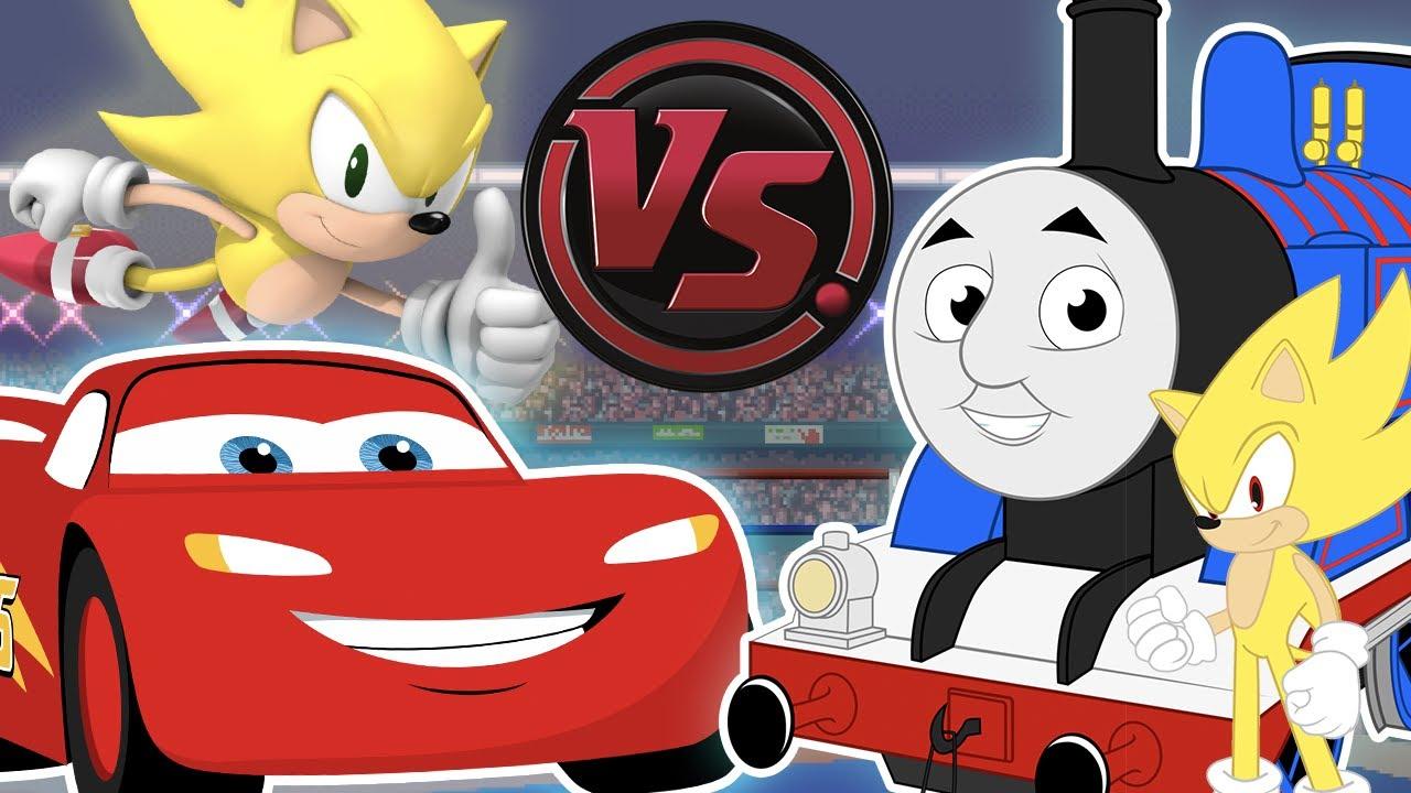 SONIC vs LIGHTNING McQUEEN vs THOMAS THE TANK ENGINE RAP CONCERT! CARTOON RAP ATTACK