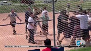 Sports brawl at a children's baseball game