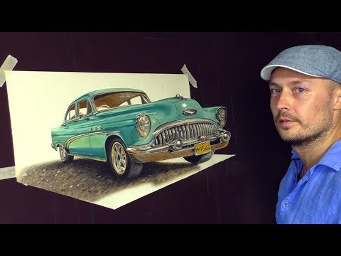 Drawing Old Cuban Classic Car/ 3D ART Painting