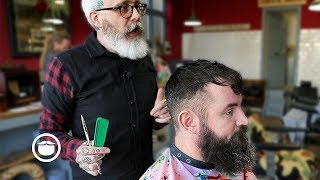 Master Barber Demonstrates a Great Style for Thin Hair with Beard Trim