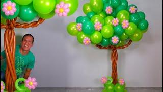 como hacer un ARBOL DE GLOBOS - globoflexia y decoracion con globos - gustavo gg
