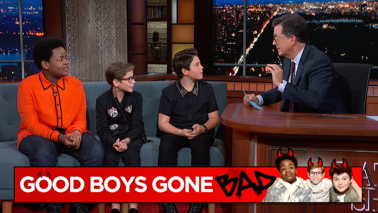 Stephen Colbert quizzes Good Boys Jacob Tremblay, Brady Noon, Keith