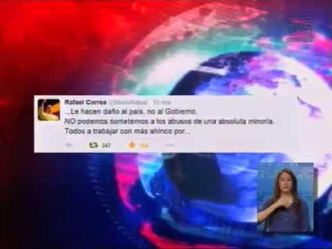 Presidente Rafael Correa a travez de cuenta Twitter manifiesta rechazo a marcha