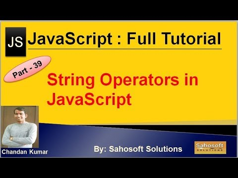 String Operators in JavaScript  : Part - 39 : JavaScript Full Tutorial in Hindi thumbnail