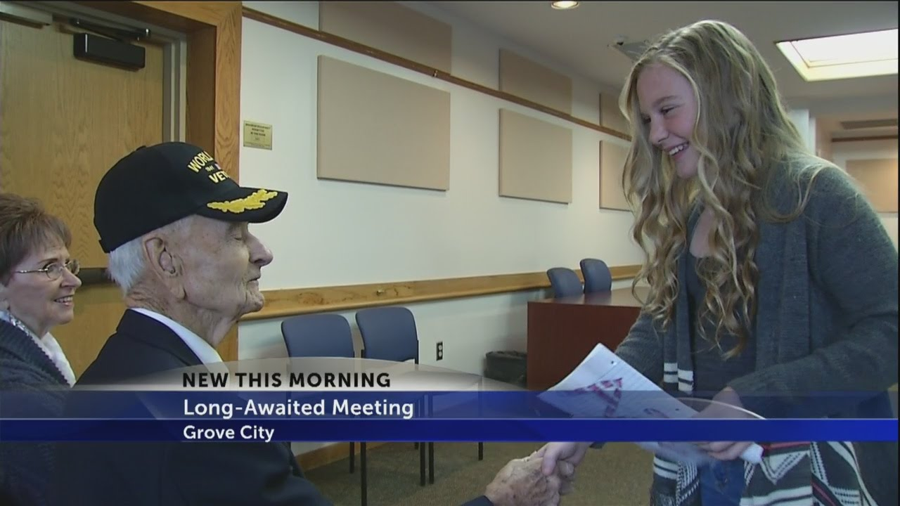 97 year old veteran meets girl who wrote thank you letter