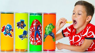 Artem Pretend Play with Magic Superhero Chips | Funny Stories about Kids Food Toys