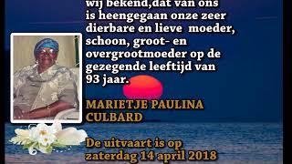 Overleden Marietje Paulina Culbard