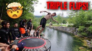 TRAMPOLINE CLIFF JUMPING IN VERMONT! - Crazy Flips & Flops