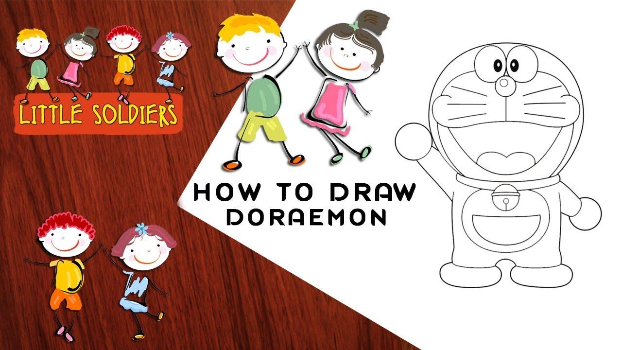 How to Draw Doraemon   Doraemon Easy Draw   Doraemon Tutorial   Little  Soldiers