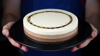ПРОСТОЙ ЧИЗКЕЙК ТРИ ШОКОЛАДА Cheesecake Triple chocolate  No-Bake Layer Cheesecake Recipe