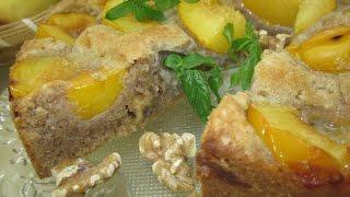 Рецепт- Сливовый пирог с орехами и мёдом
