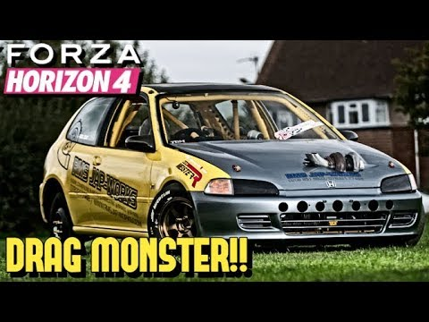 FORZA HORIZON 4 - Monster 1.3 Second DRAG *Civic* Build!!