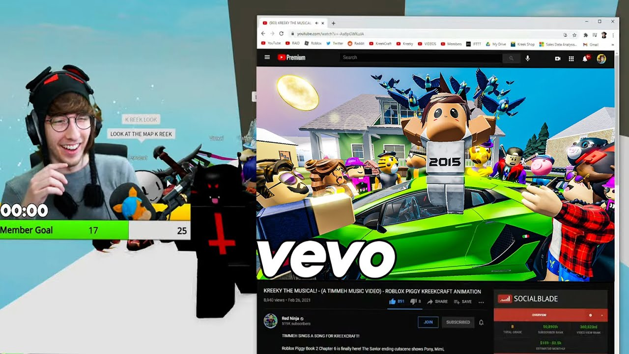 KREEKCRAFT REACTS TO RED NINJA'S - TIMMEH MUSICAL! (ROBLOX MUSIC VIDEO) PIGGY ANIMATION