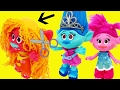 TROLLS GO BALD!! Poppy & Branch Visit New Maddy Doll Hair Salon Bad Haircuts Makeovers DisneyCarToys
