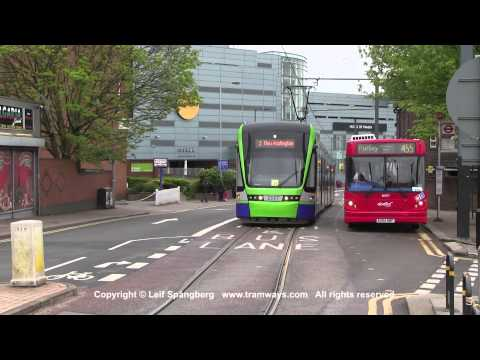 London Tramlink trams at Tamworth Rd, Croydon, London